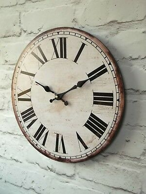 LARGE 34cm ANTIQUE VINTAGE STYLE WALL CLOCK SHABBY CHIC RETRO WOOD EFFECT NEW