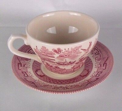 Vintage Churchill Pink Rosa Willow Teacup & Saucer Set Made In England