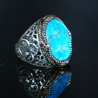 Turkish Handmade Ottoman 925K Sterling Silver Turquoise Men's Ring Size 10,11,12