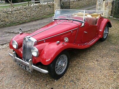 MG TF. 1954. 1250cc In Red with MG number plate.