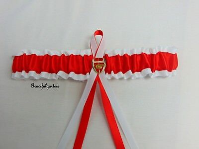Football team bridal wedding garter. Gooners. red and white