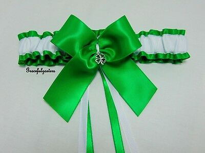 Plus Size Irish st patricks day four leaf clover shamrock Bridal Wedding Garter