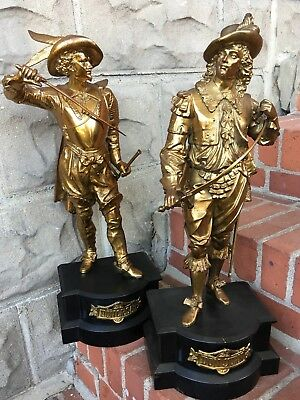 Finest Pair Ansonia Gilbert Waterbury Don Juan Don Caesar Spelter Clock Statue
