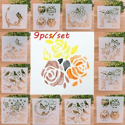 9PCS/SET Wall Painting Scrapbooking Layering Stencils Embossing Template