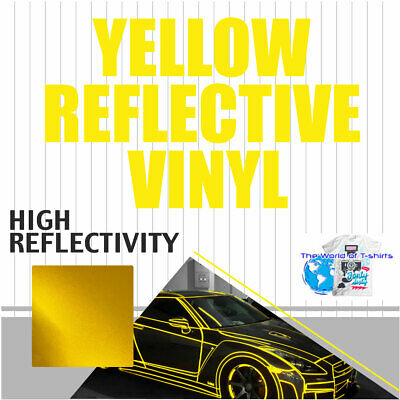"YELLOW Reflective Vinyl Adhesive Cutter Sign Hight Reflectivity 24"" x 25 Feet"