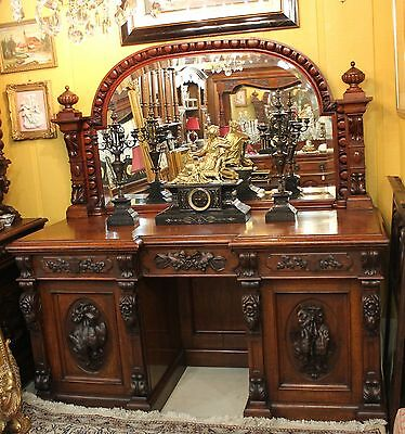 French Antique Rosewood Hunt Scene Sideboard Server Credenza Mirrored Buffet