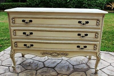 Louis XV Style Painted Antique White Wide 3 Drawer Chest Short Bedroom Dresser