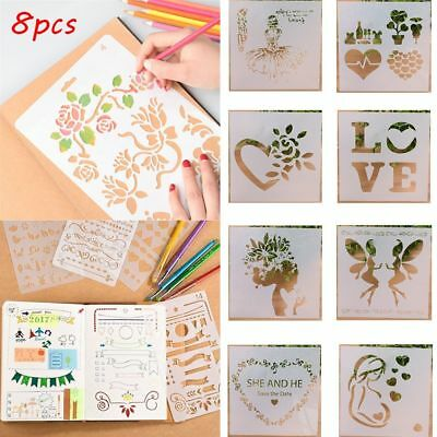 8pcs/set Craft Embossing Template Layering Stencils Mother's Day Scrapbooking