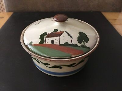 Watcombe Pottery Torquay Butter Dish - Lyntont - 'Duee ave sum butter''