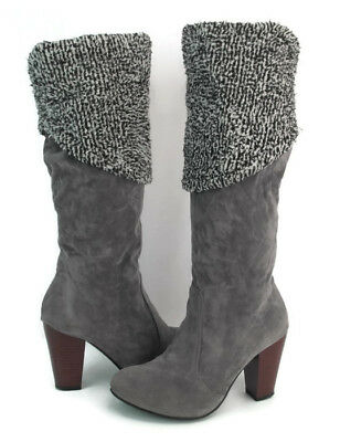 a962b1748de756 Unbranded Italian Women s Grey Leather Pull On Mid Calf Boots Size ...