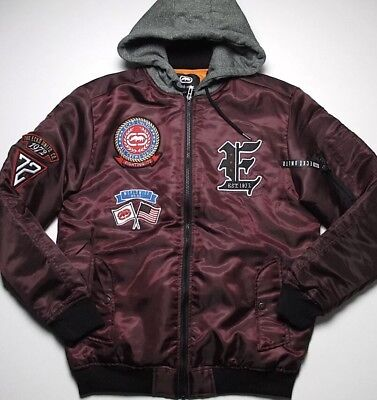 ECKO UNLTD Bomber Jacket Black Size S Small Patches Flight Pilot With Hood NWT