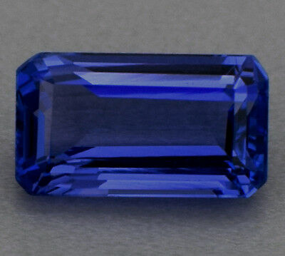 Emerald Cut 2.12 Cts 100% Natural Tanzanite Violet-Blue Ring Size High-End AAAA+