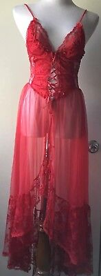 Vintage Designs by Faris Sheer red nightgown with underwire & lace size small