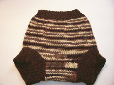 Hand Knitted Wool Cloth Diaper Cover baby nappy cover size  Medium  6 -12 Months