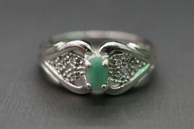 Vintage Sterling Silver Sz7 Green Jade With Two Heart Design 925 Ring!! (#2799)