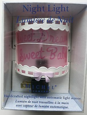 Sweet Dreams Baby Night Light Auto On/Off Frosted PINK Girl bow&lace nursery new