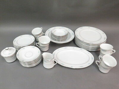 (55) Pc Set Style Home Fine China Corsage Blue Roses Silver Trim Plates Cups ...