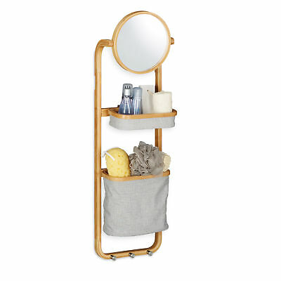 Bamboo Bathroom Shelf, Hanging Rack, Caddy with Baskets and Mirror, Hooks