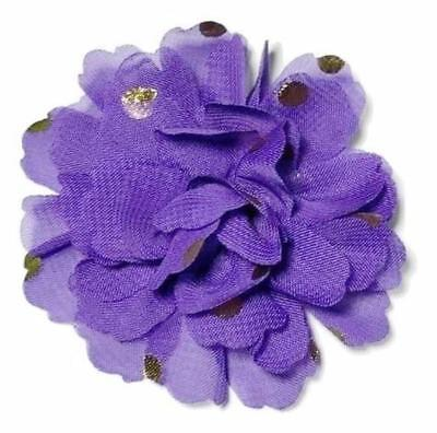 "3 pcs Purple w/ metallic gold polka dot 2.75"" chiffon flowers DIY headband"