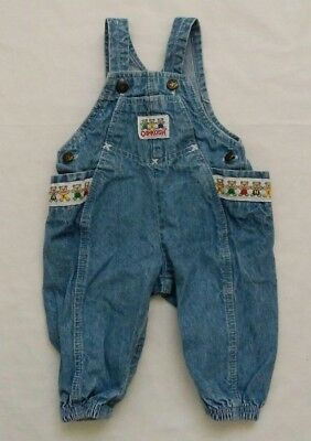 OshKosh B'Gosh Vestbak Baby Boy's Size 12M Vintage Denim Teddy Bear Overalls