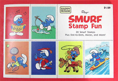 Vintage Smurf Stamp Fun Book with Stamps – Unused – Happy House Peyer 1982