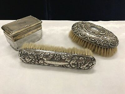 Two Antique Sterling Silver Dressing Table Brushes And Etched Glass Trinket Box