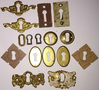 Antique/Vintage Key Hole Escutcheons Reclaimed Salvaged Hardware Brass Metal A94