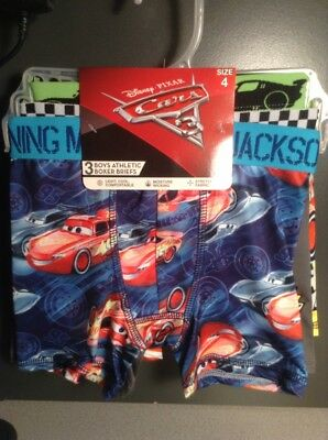 BOYS 3 PAIR DISNEY PIXAR CARS ATHLETIC BOXER BRIEFS SIZE 6 or 8 Moisture Wicking