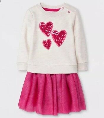 c9e094520 Cat And Jack Target Baby Girl Outfit Skirt Sweatshirt 3-6 Months Hearts  sequin
