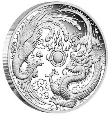 2018 1 oz Australia Dragon and Phoenix 9999 Silver Proof Coin **IN HAND**