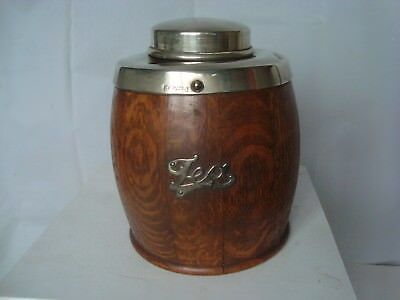 Vintage tea caddy wood metal top & lid with makers marks treen kitchenalia