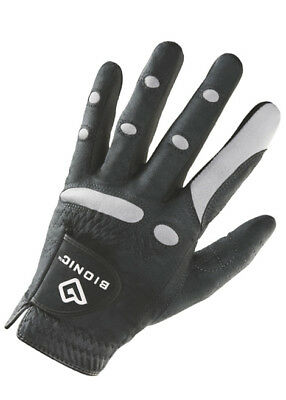 BIONIC Mens AquaGrip Golf Gloves - Left Hand (For Right Hand Golfer) Black