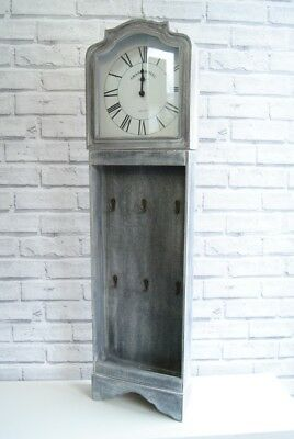 Large Clock Vintage style French Grey Wall Clock with 6 hooks for hanging keys