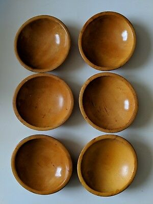 "Set of six 6"" Vintage signed MUNISING maple hardwood Bowls"