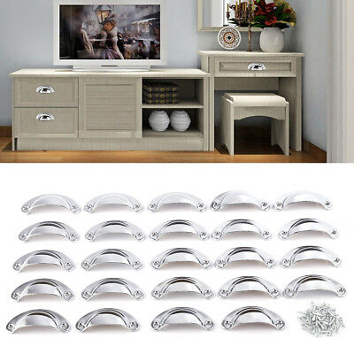 24x Traditional Chrome Kitchen Cupboard Drawer Pull Cup Mushroom Knob Handle