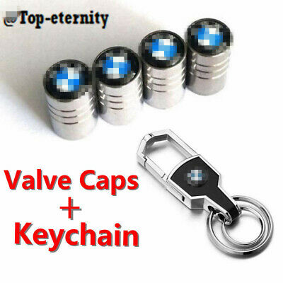 Car Wheel Tire Air Valve Stems Caps + Keychain Ring Keyfob Logo Emblem For BMW
