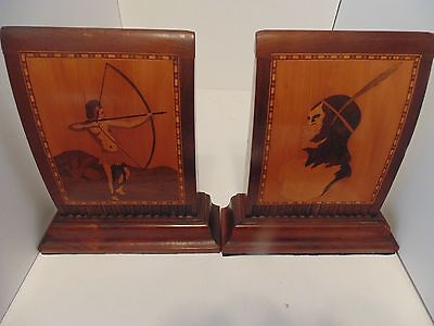 Inlaid Marquetry Indian Archer Brave Art Deco Style Vintage Heavy Wood Bookends