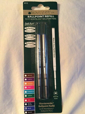 MONTBLANC BY MONTEVERDE BALLPOINT MEDIUM Point Refill BLUE 2 Pack NEW M132 88492