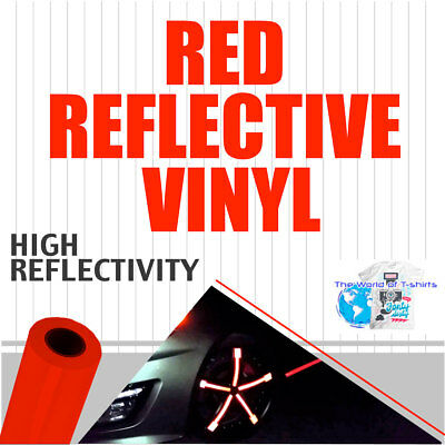 "Red Reflective Vinyl Adhesive Sign Plotter High Reflectivity 12""x 5 Feet"