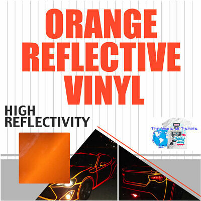 "ORANGE Reflective Vinyl Adhesive Cutter Sign Hight Reflectivity 24"" x 25 Feet"