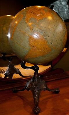 "1909~ Rand McNally & Company 12 "" Terrestrial Table Top Globe, Bronzed Cast Iron"