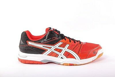 Mens Womens Asics Gel Rocket 7 B405N Cherry Tomato White Black Mesh Trainers