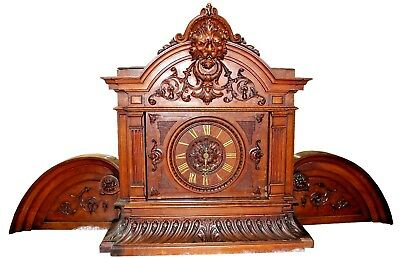 Antique French Victorian Hand-Carved Walnut Mantel Clock, Dufaud circa 1880s