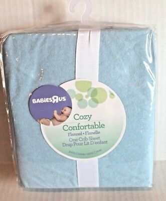 Babies R Us Solid Light Blue Flannel Fitted Baby Crib Sheet 100% Cotton