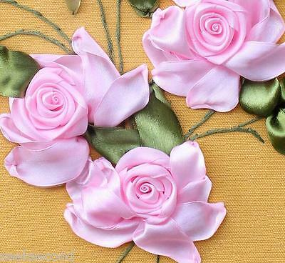 Ribbon Embroidery Kit Blooming Pink Rose Needlework Craft Kit RE3009