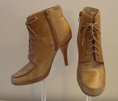 "Rylee Awesome VINTAGE Camel Lace-up Side Zip 4""Heel Ankle Boot Shoes  Size 7"