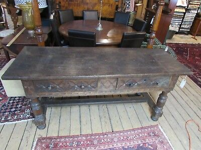 Antique Spanish Dutch Colonial Large Carved Console Table with Drawers