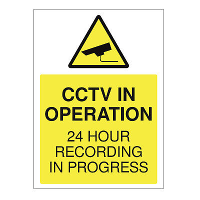 CCTV SIGN - 24HR Surveilance All Sizes CCTV Warning Sticker Security Camera