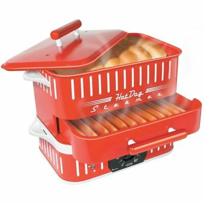 Hot Dog Steamer With Lid Retro Red Bun Warmer Cooker Electric Home Hotdog