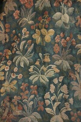 Antique Mille Fleurs French hand woven wool 18th 19th wool blue Millefleur